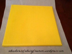 Canvas painted yellow