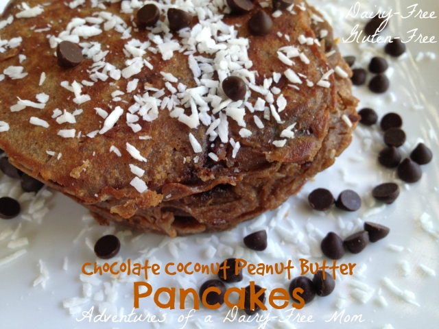 Chocolate Coconut Peanut Butter Pancakes